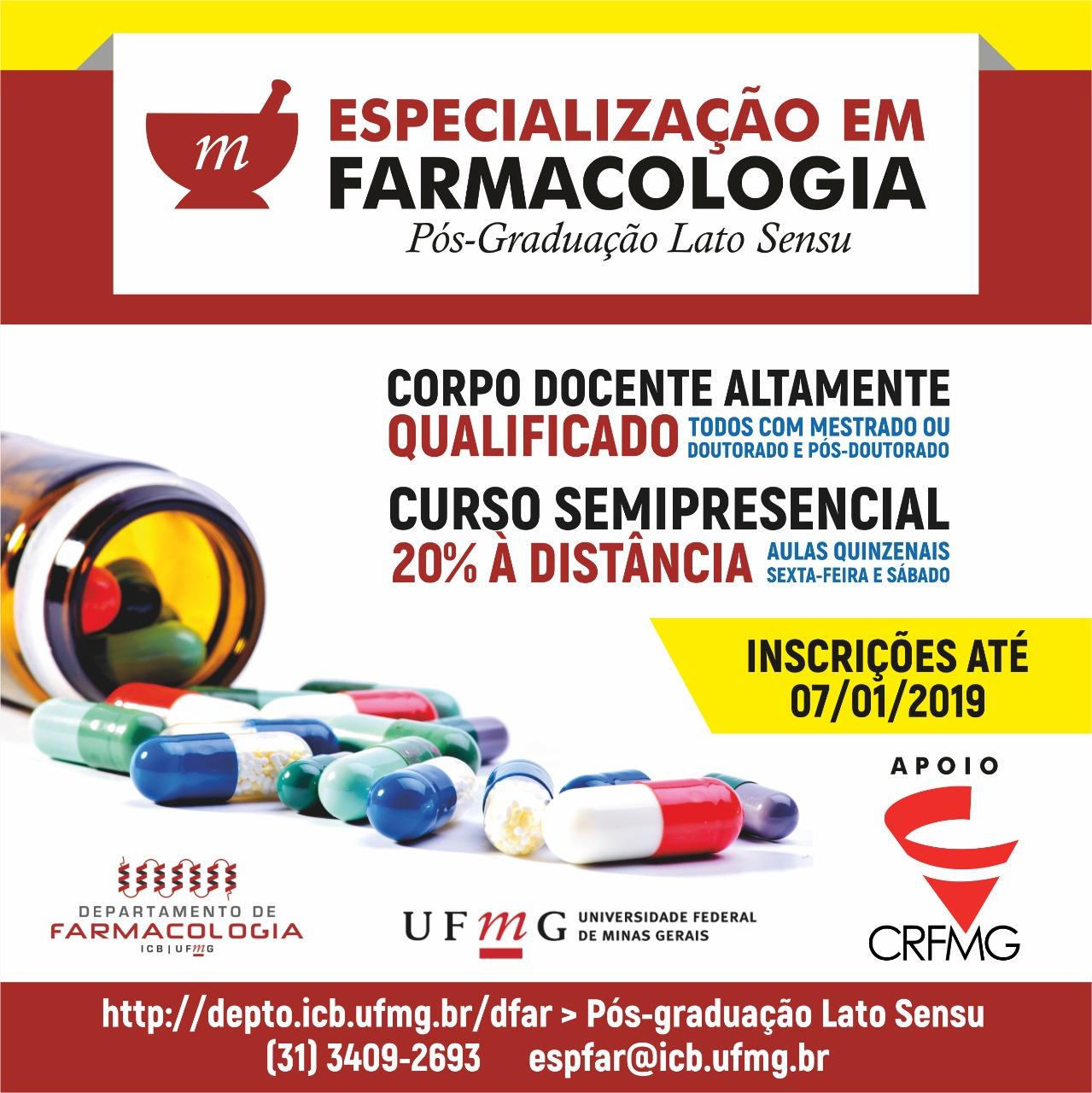 UFMG oferece curso de pós-graduação em farmacologia